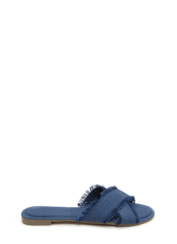 So X-Tra Frayed Denim Slide Sandals BLUE