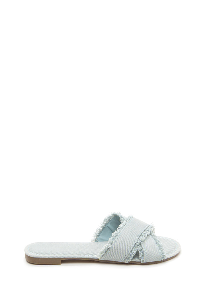 So X-Tra Frayed Denim Slide Sandals LTBLUE