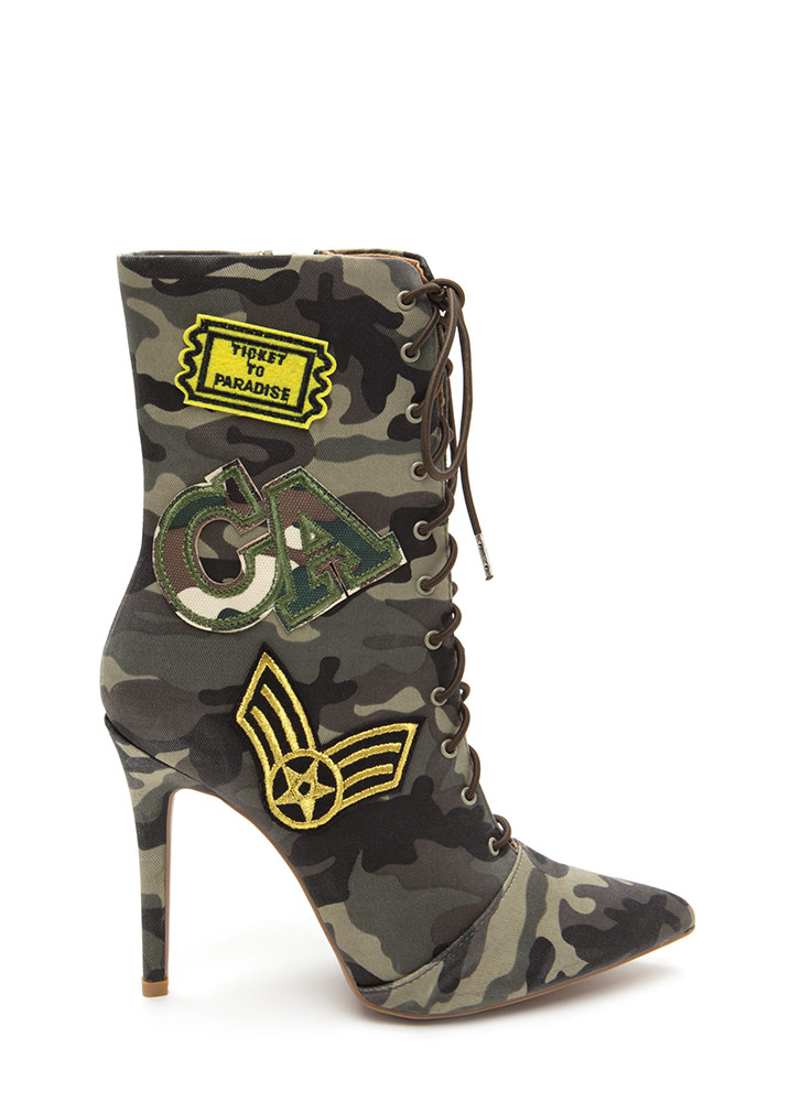 Command Center Camo Patch Booties KHAKI