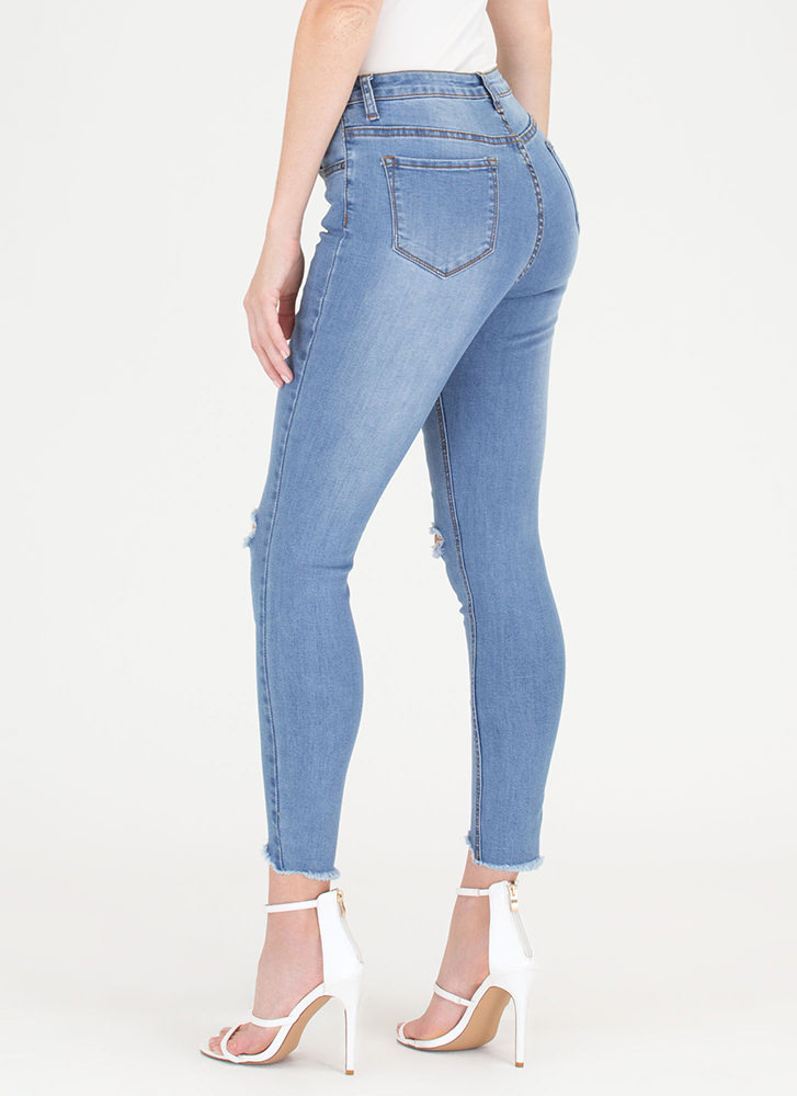 Dream Of Jean-ie Slit Distressed Jeans BLUE