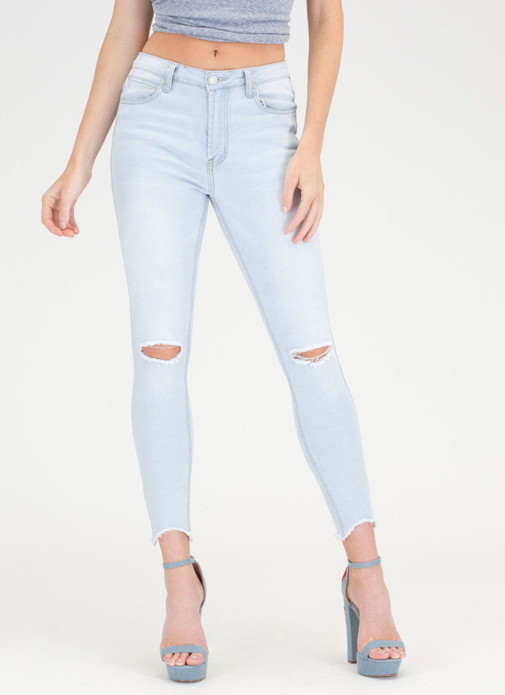 Dream Of Jean-ie Slit Distressed Jeans LTBLUE