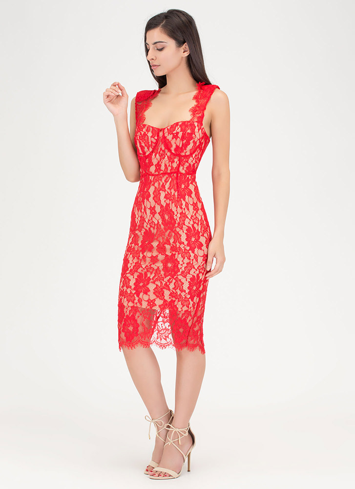 Romantic Move Lace Midi Dress RED