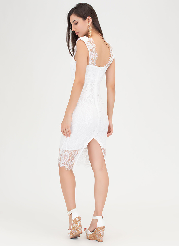 Romantic Move Lace Midi Dress WHITE