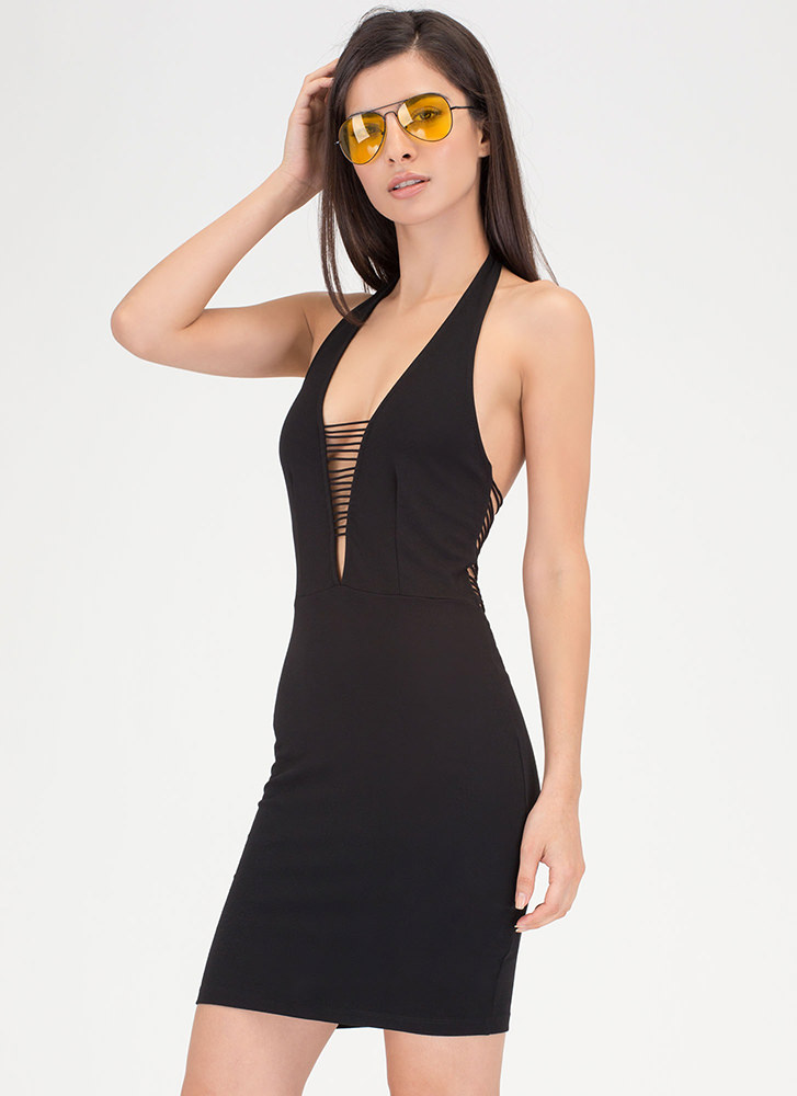 Night After Night Caged Halter Dress BLACK