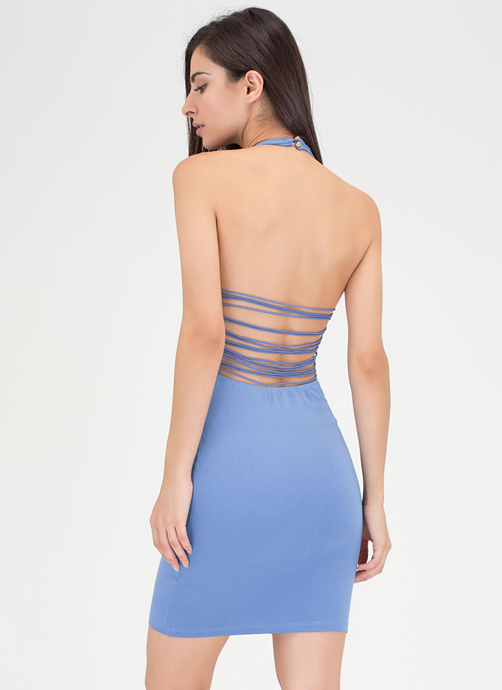 Night After Night Caged Halter Dress BLUE
