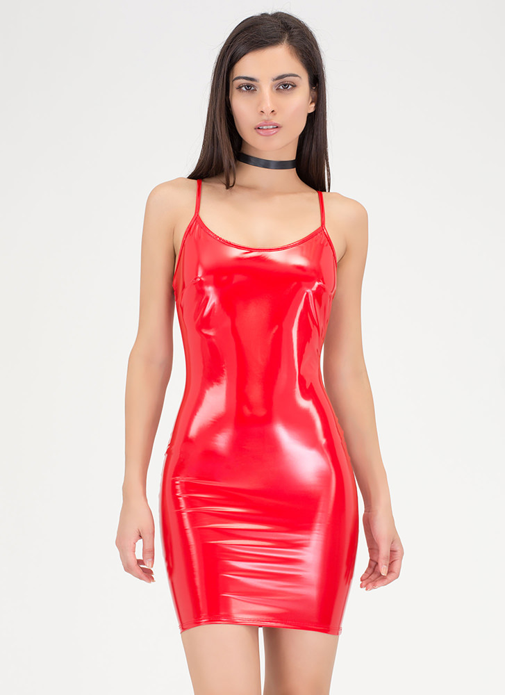 Gloss Over Faux Patent Mini Dress RED