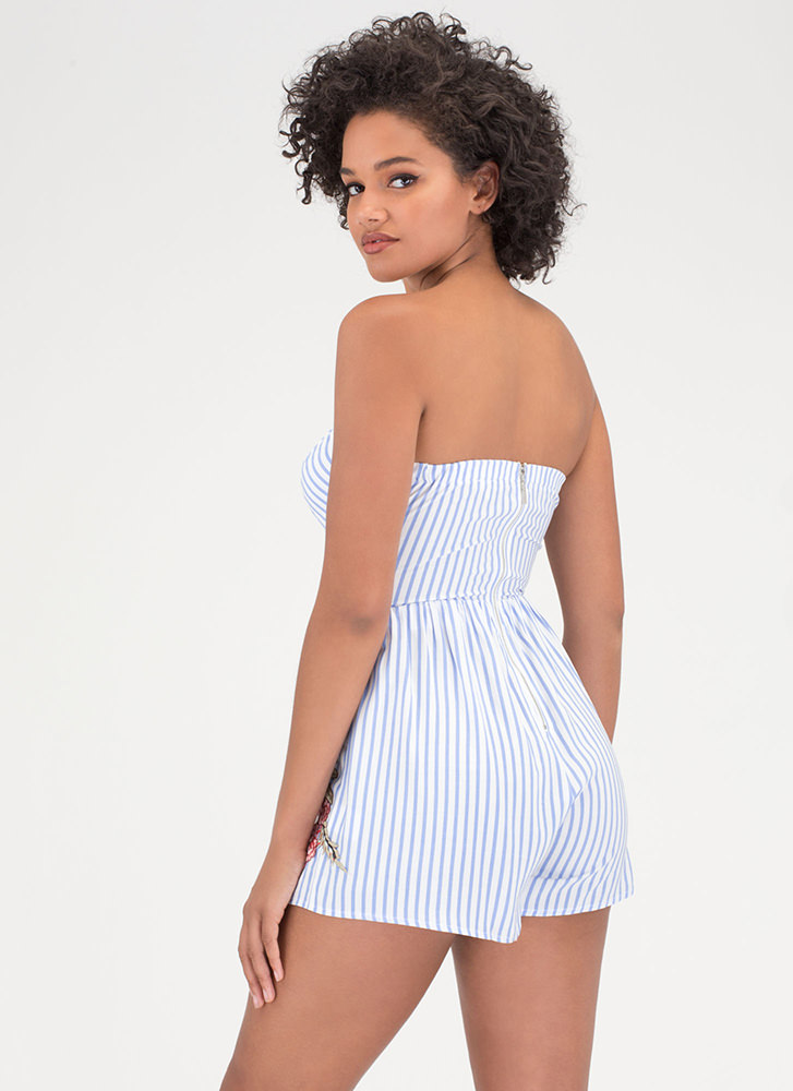 Stripe A Pose Floral Cut-Out Romper BLUE (Final Sale)