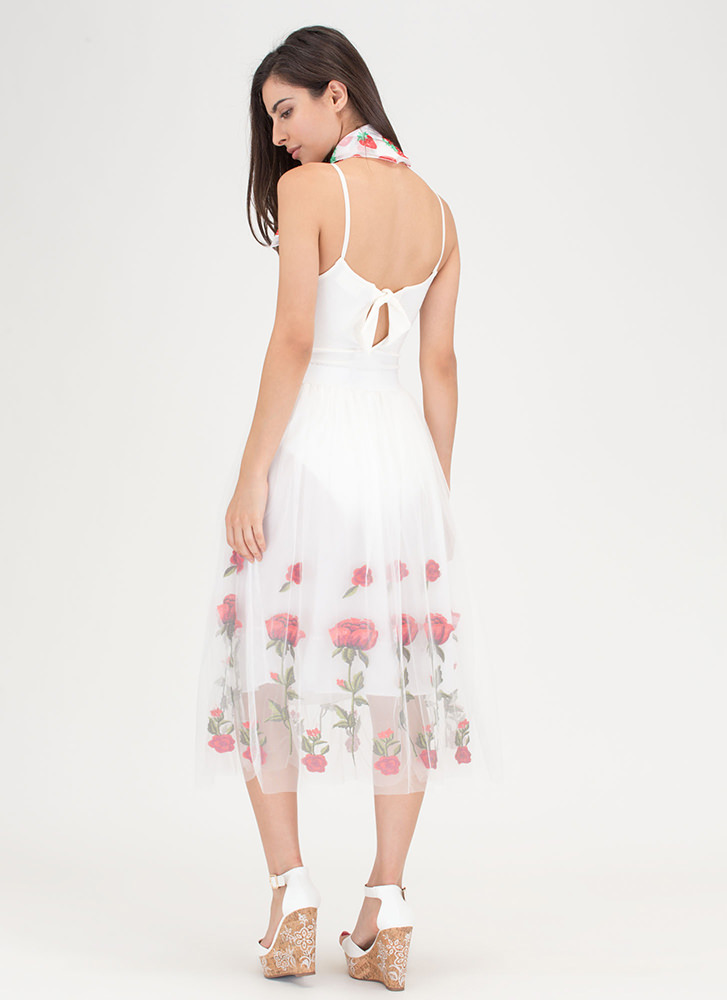 Sheer To Stay Embroidered Floral Skirt WHITE