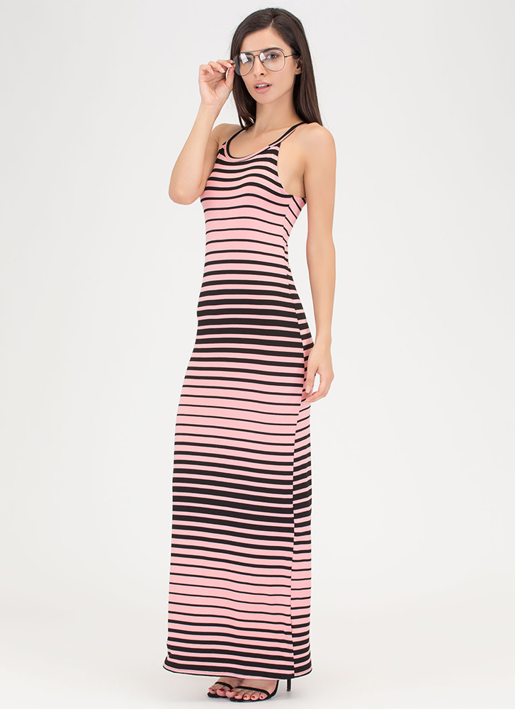 Learn Your Lines Striped Maxi Dress CORAL