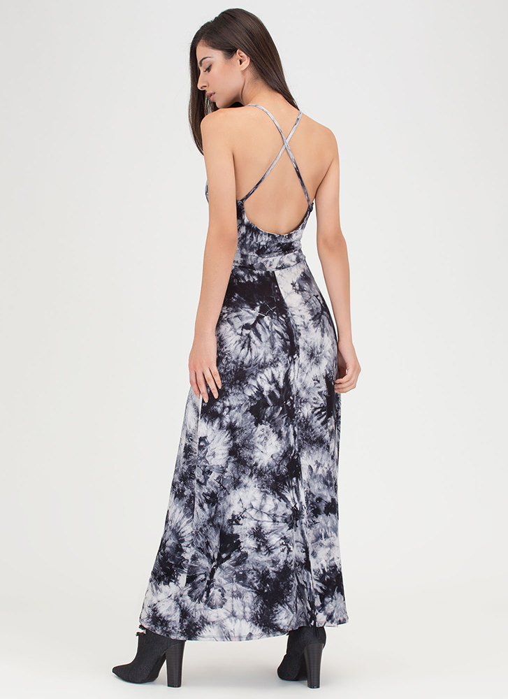 Island Life Plunging Tie-Dye Maxi BLACK (Final Sale)