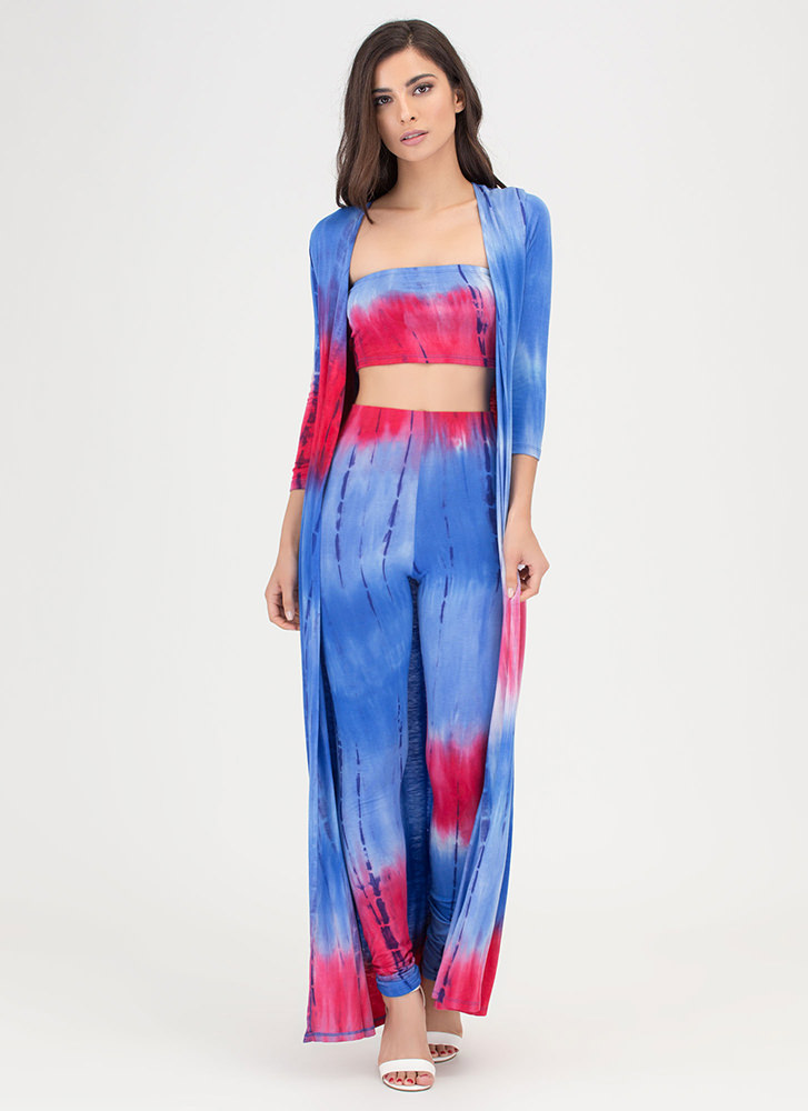 Color And Flow Three-Piece Tie-Dye Set BLUEMULTI