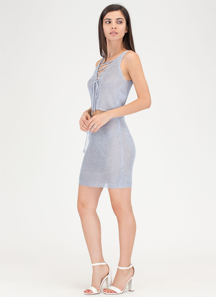 Front 'N Center Metallic Two-Piece Dress BLUE