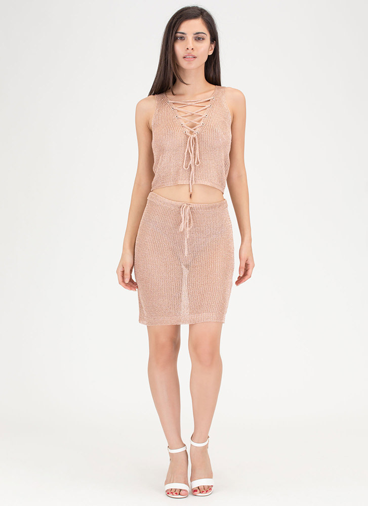 Front 'N Center Metallic Two-Piece Dress ROSE