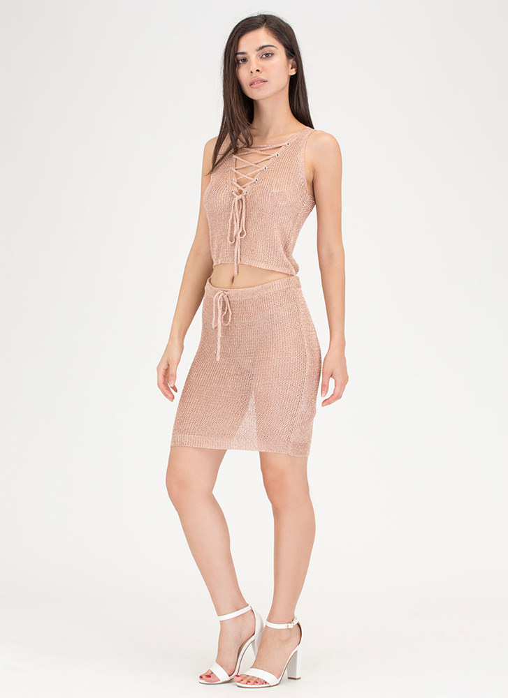 Front 'N Center Metallic Two-Piece Dress ROSE (You Saved $31)