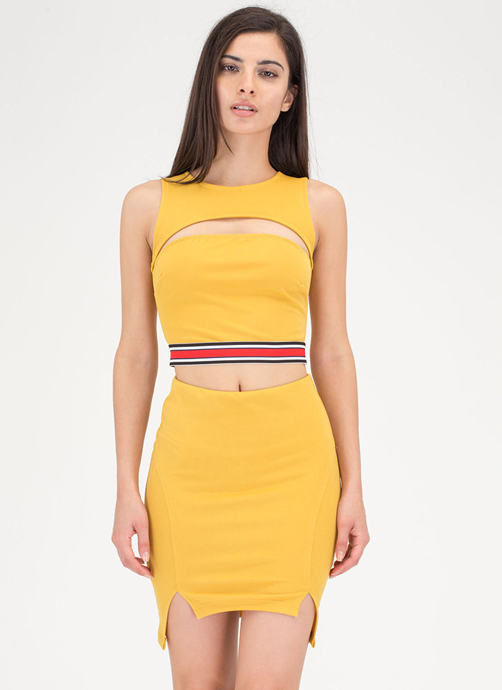 On The Court Striped Cut-Out Dress MUSTARD