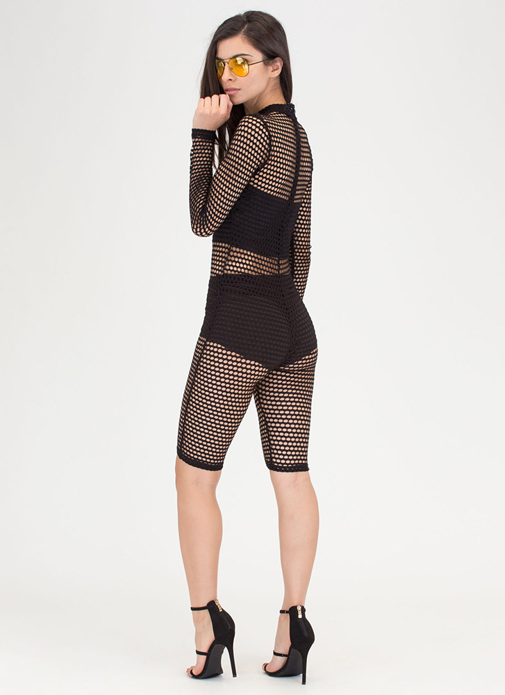 Bomb Dot Net Sports Mesh Capri Jumpsuit BLACK
