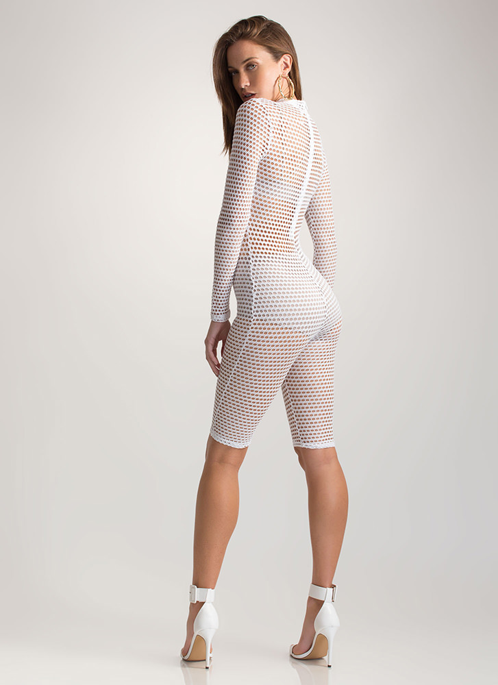 Bomb Dot Net Sports Mesh Capri Jumpsuit WHITE
