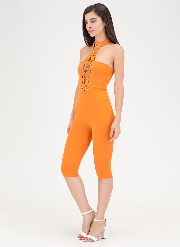 Play The Lace-Up Cropped Choker Jumpsuit RUST