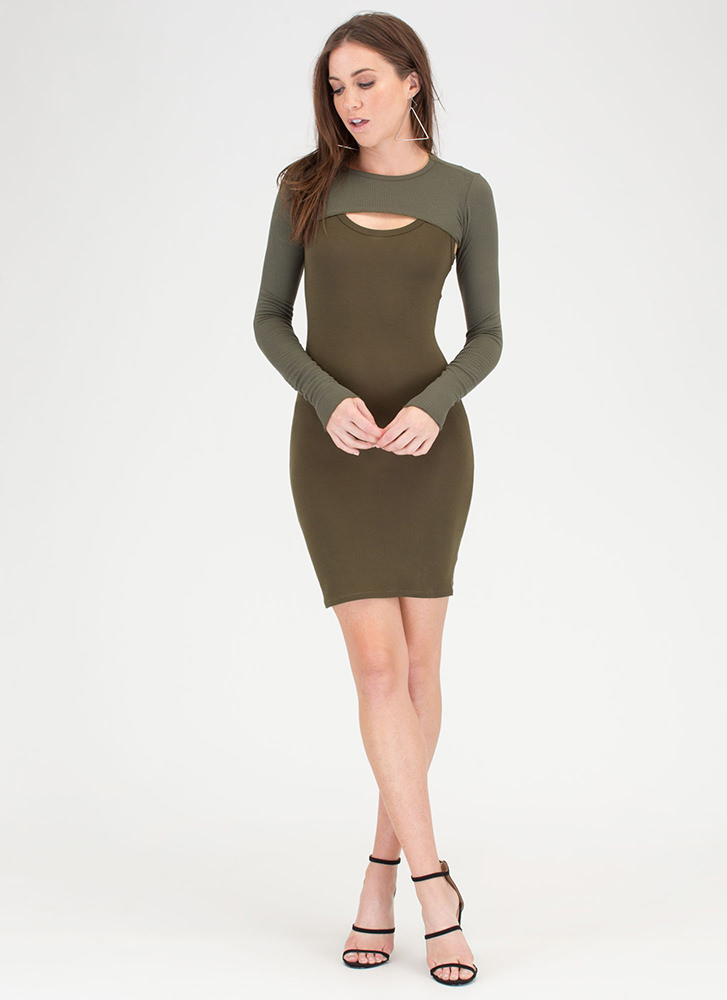 Extreme Measures Rib Knit Crop Top OLIVE (You Saved $7)