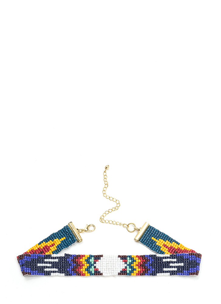 Tribe Vibes Slim Beaded Choker MULTI