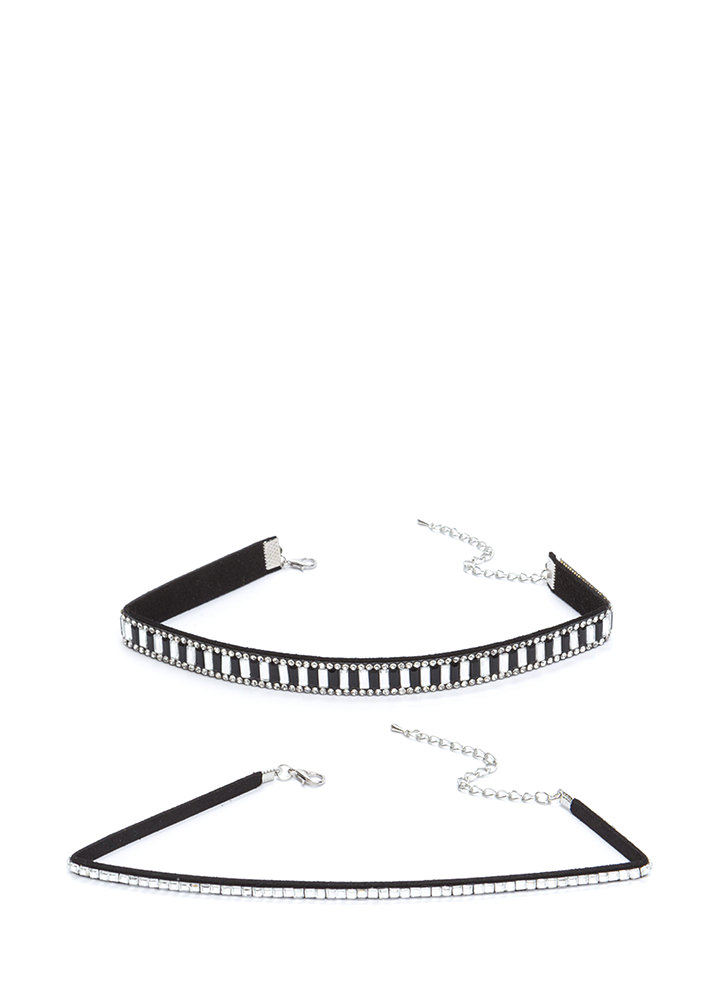 Nineties Glam Jeweled Choker Set BLACK