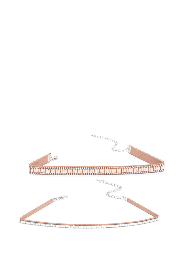 Nineties Glam Jeweled Choker Set ROSEGOLD
