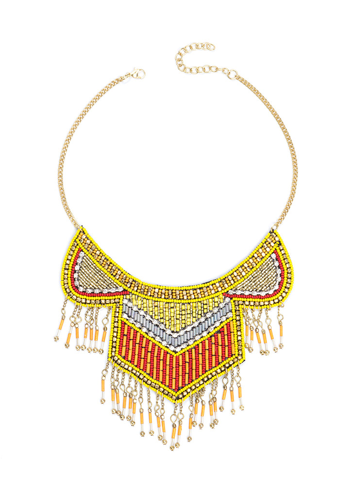 Beyond Boho Beaded Fringe Necklace YELLOWGOLD