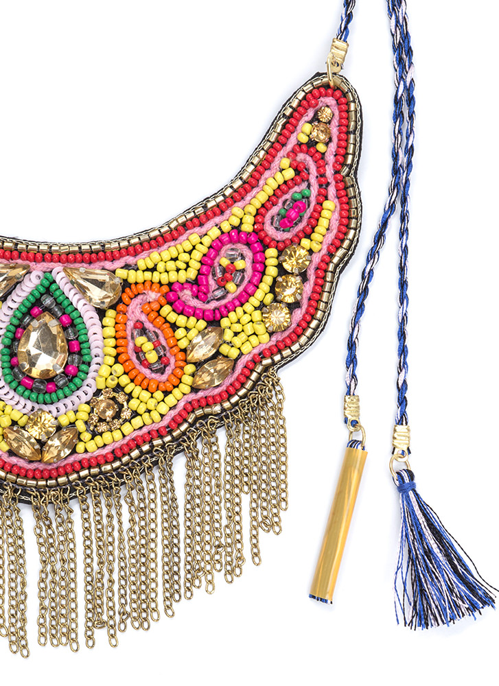 Boho Flow Beaded Fringed Necklace BLUEMULTI
