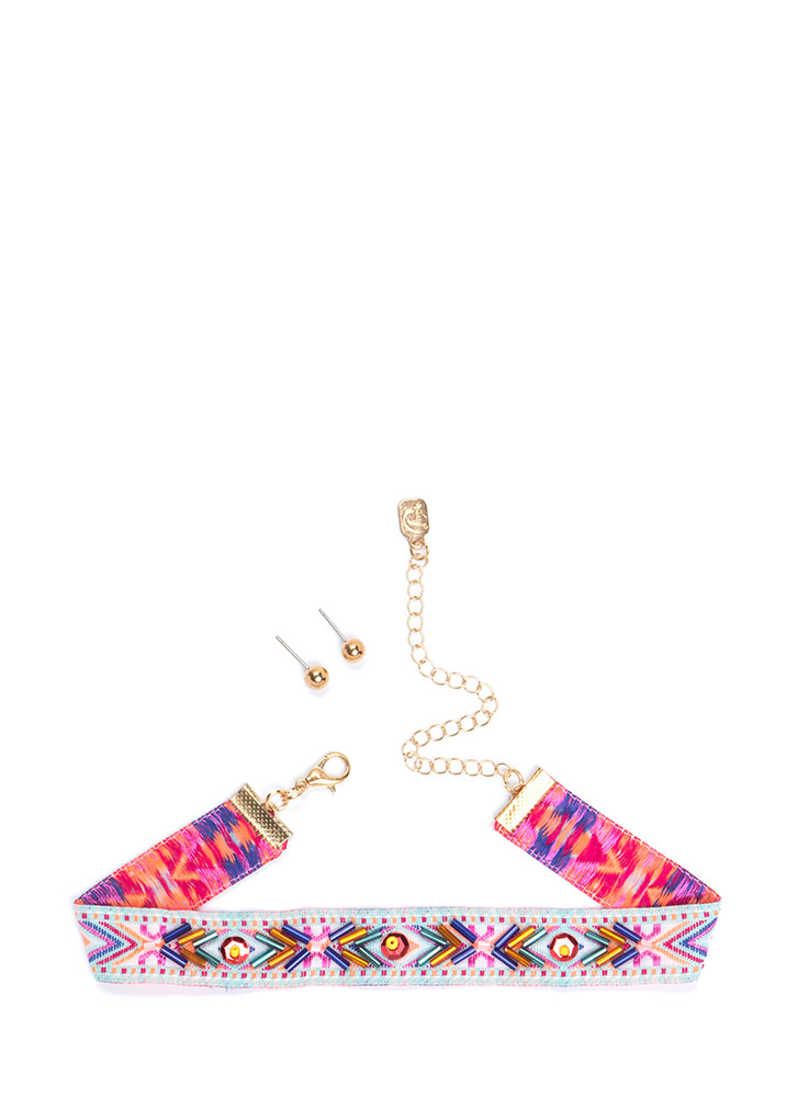Go Boho Beaded Embroidered Choker MULTI