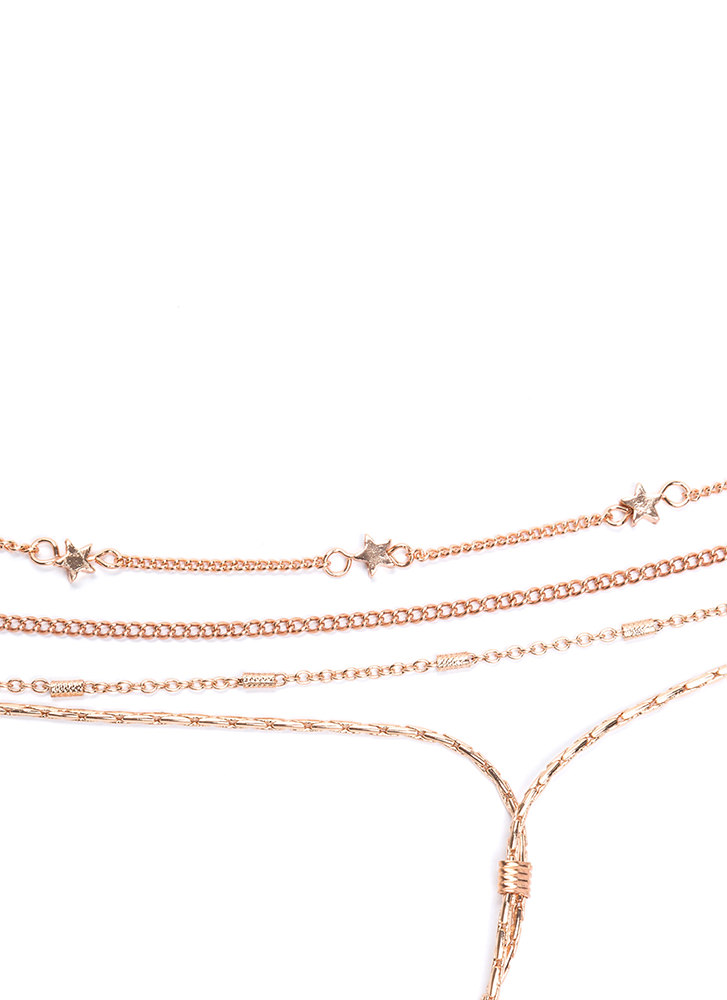 Starstruck Style Layered Chain Necklace ROSEGOLD (Final Sale)