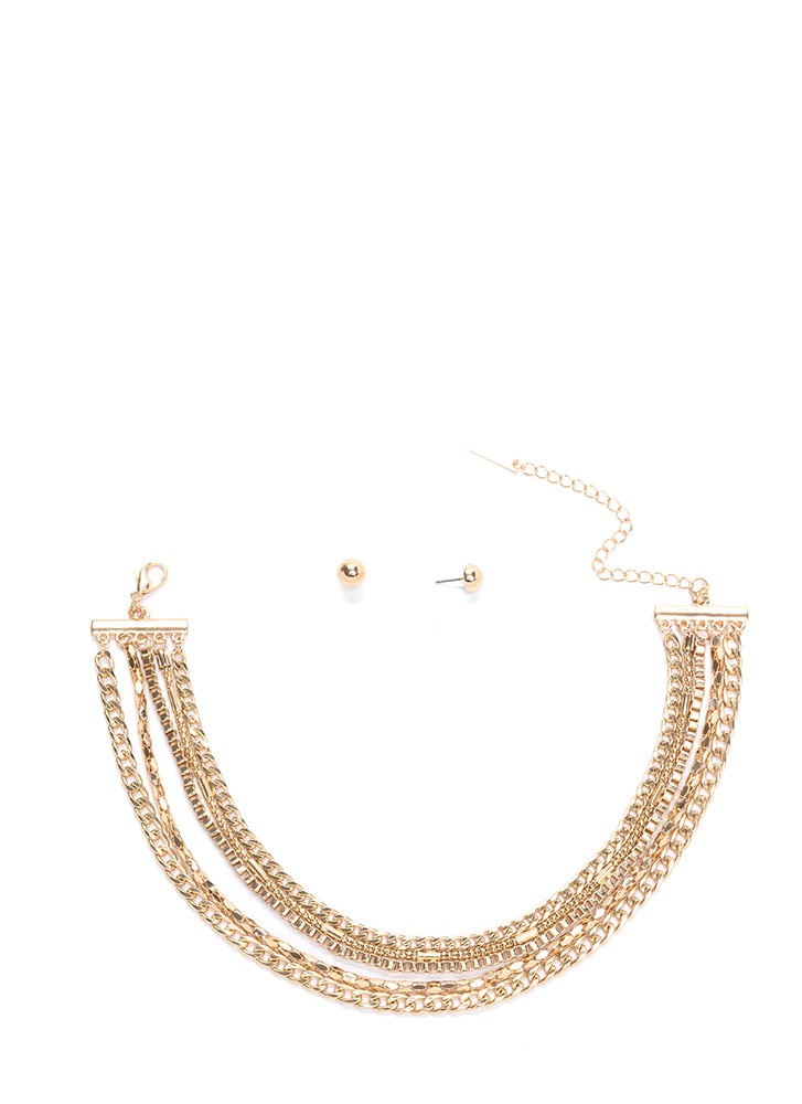 Chain Of Command Layered Choker Set GOLD