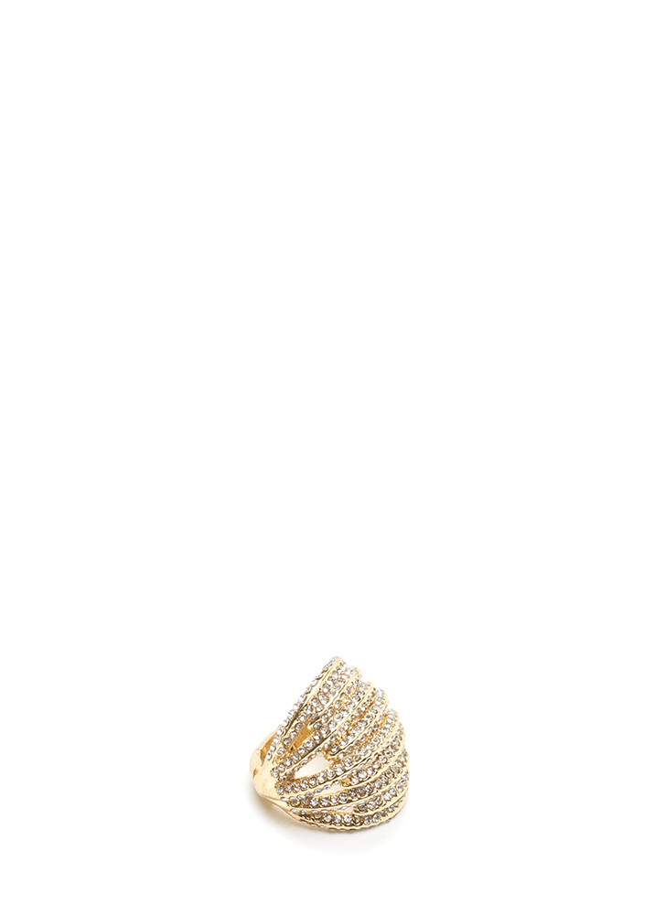 Stack Up Chunky Jeweled Stretchy Ring GOLD