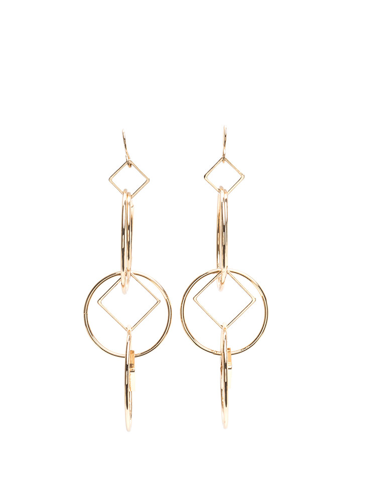 Get In Shape Interlocked Earrings GOLD