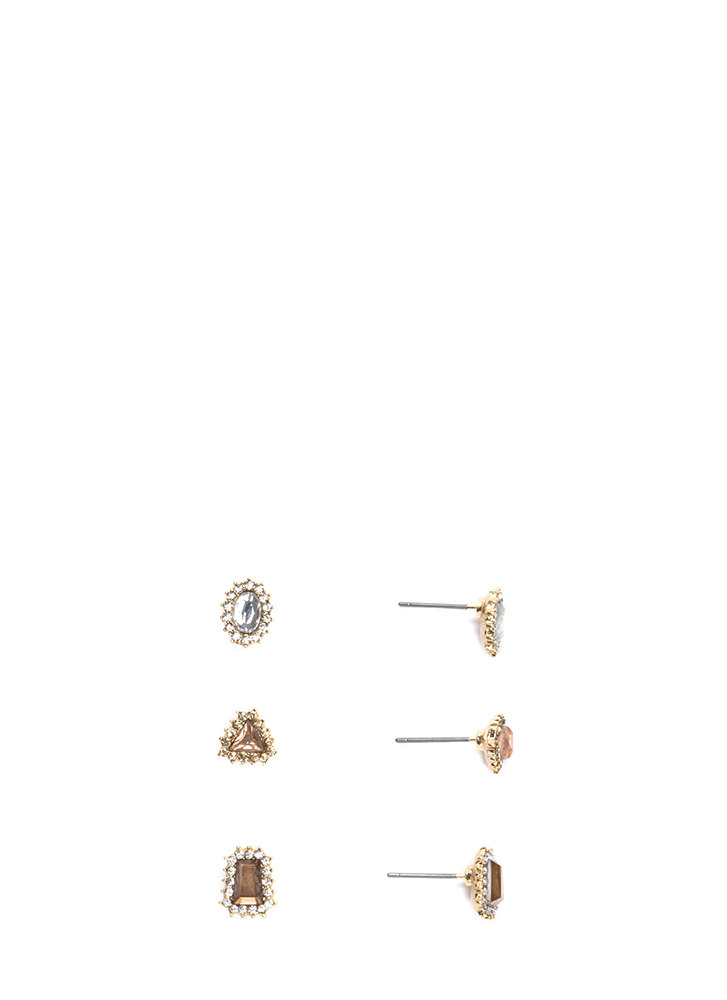 Daytime Sparkle Faux Jewel Earring Set GOLDMULTI (Final Sale)