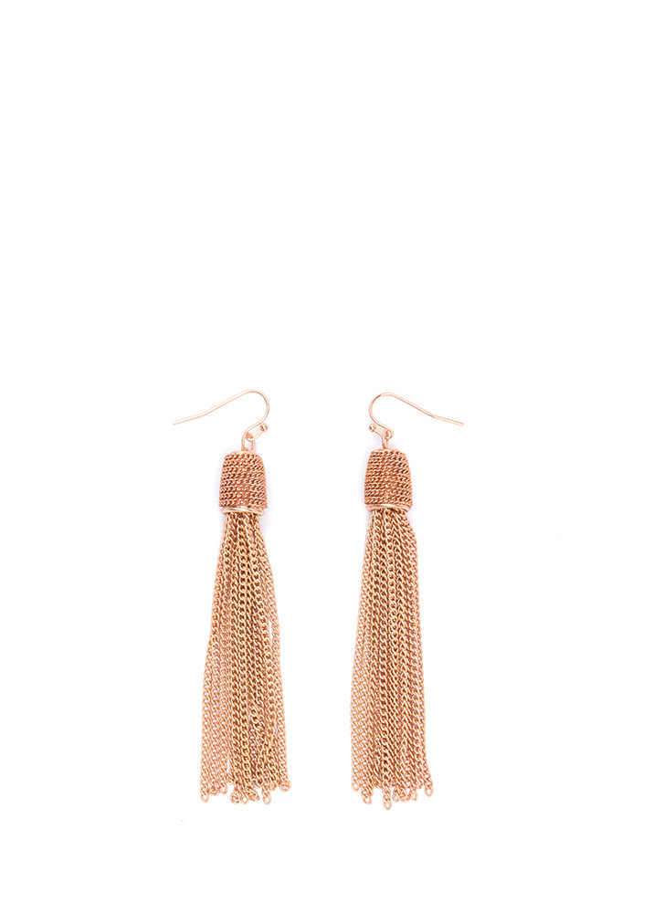 Taste For Tassels Chain Earrings ROSEGOLD