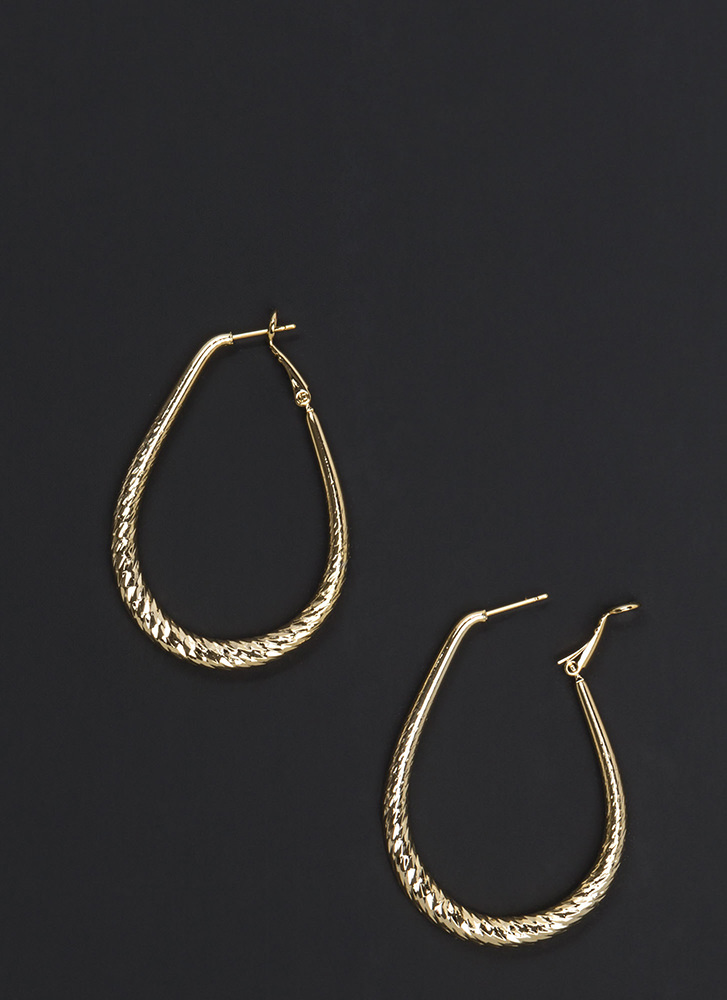 Twist To It Textured Hoop Earrings GOLD