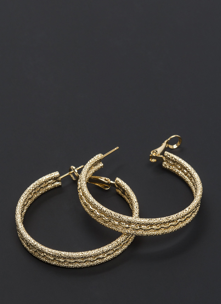 Glitzy Baubles Twisted Hoop Earrings GOLD