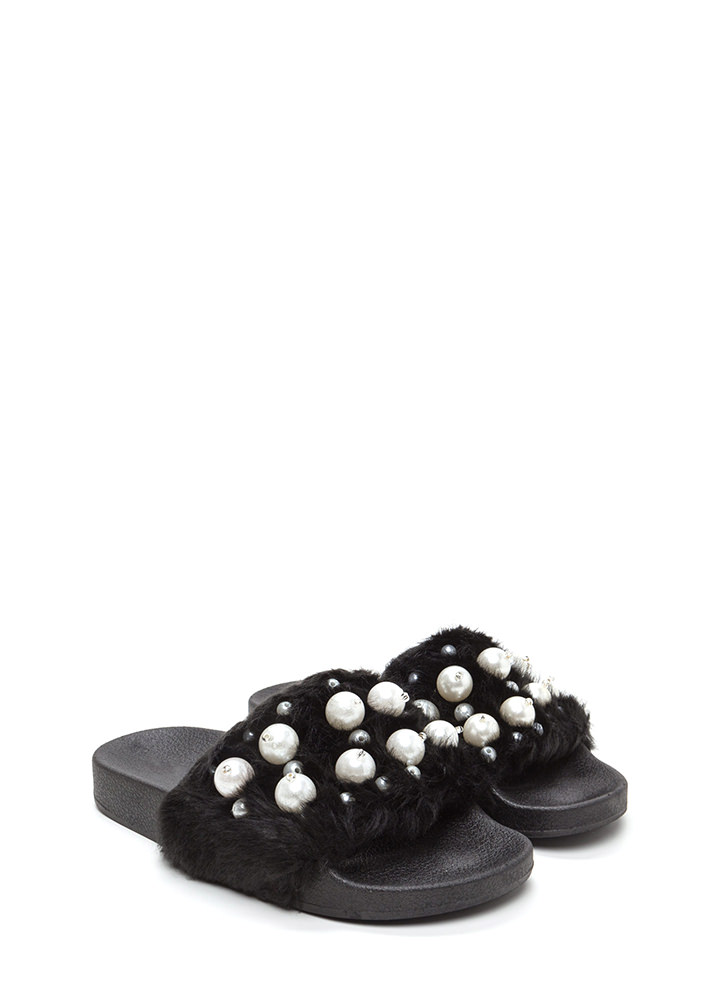 Fur Sure Faux Pearl Slide Sandals BLACK
