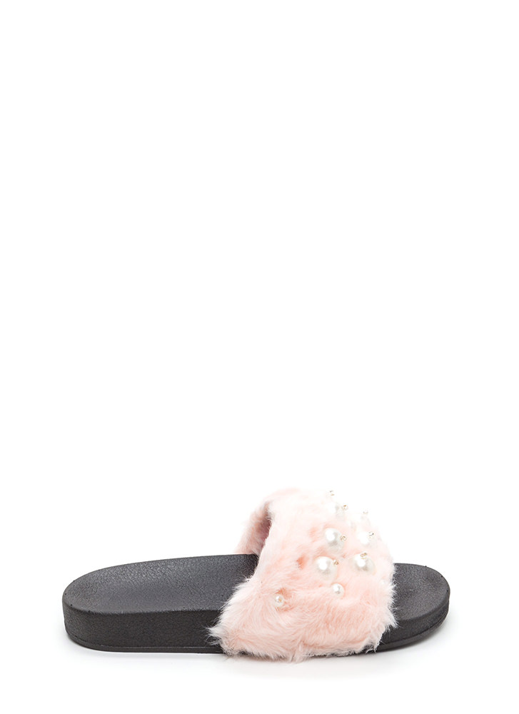 Fur Sure Faux Pearl Slide Sandals PINK