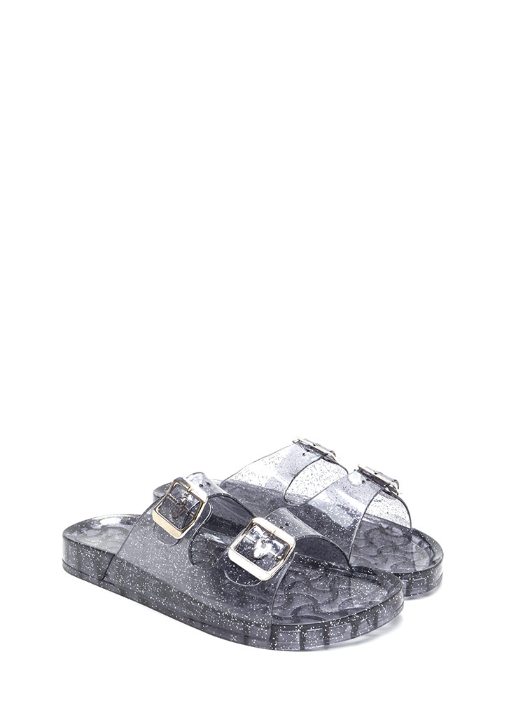 Clearly Glitter Jelly Slide Sandals BLACK
