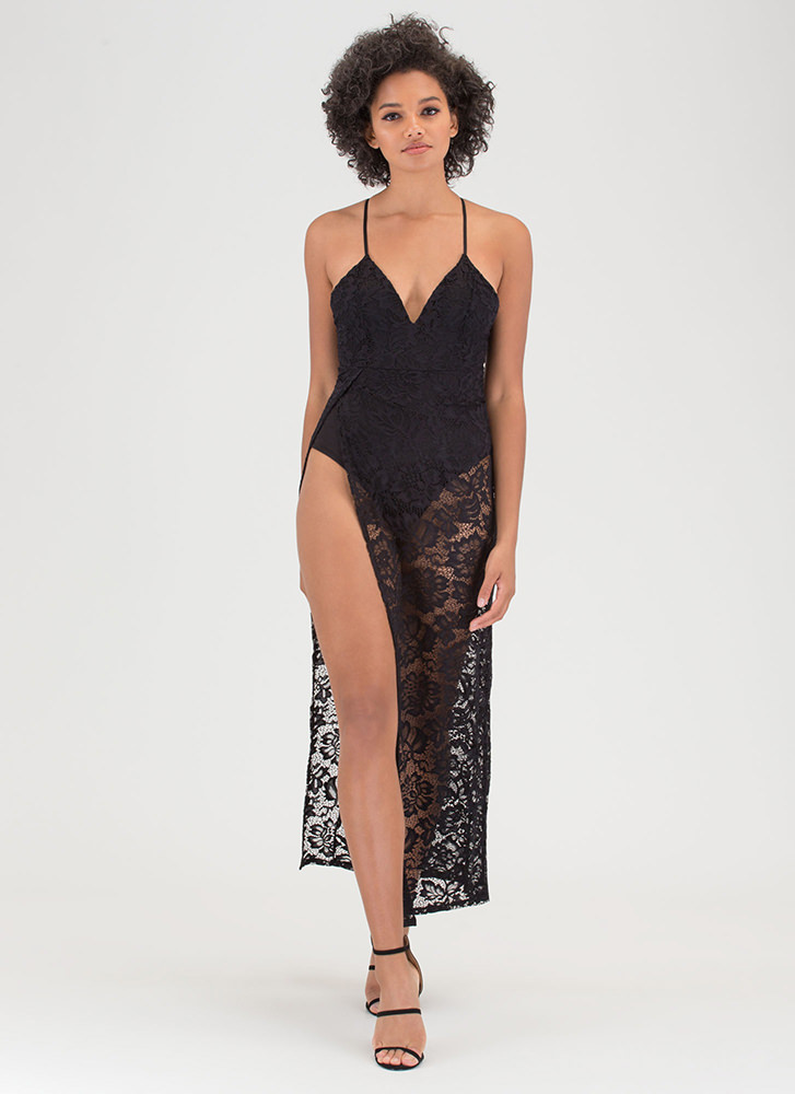 Romantic Goddess Sheer Lace Maxi Dress BLACK