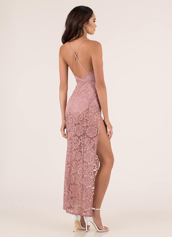 Romantic Goddess Sheer Lace Maxi Dress MAUVE