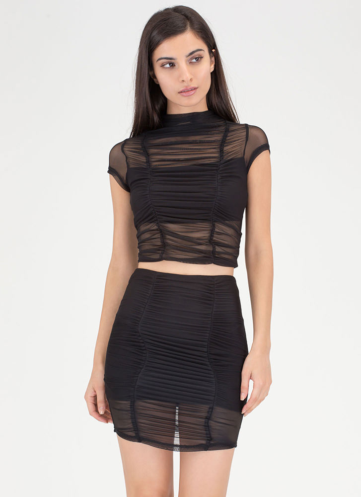 Ruched Into It Mesh Two-Piece Dress BLACK (Final Sale)