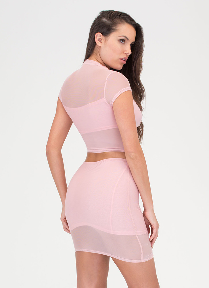 Ruched Into It Mesh Two-Piece Dress BLUSH