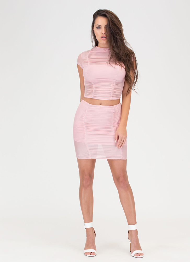 Ruched Into It Mesh Two-Piece Dress BLUSH (Final Sale)