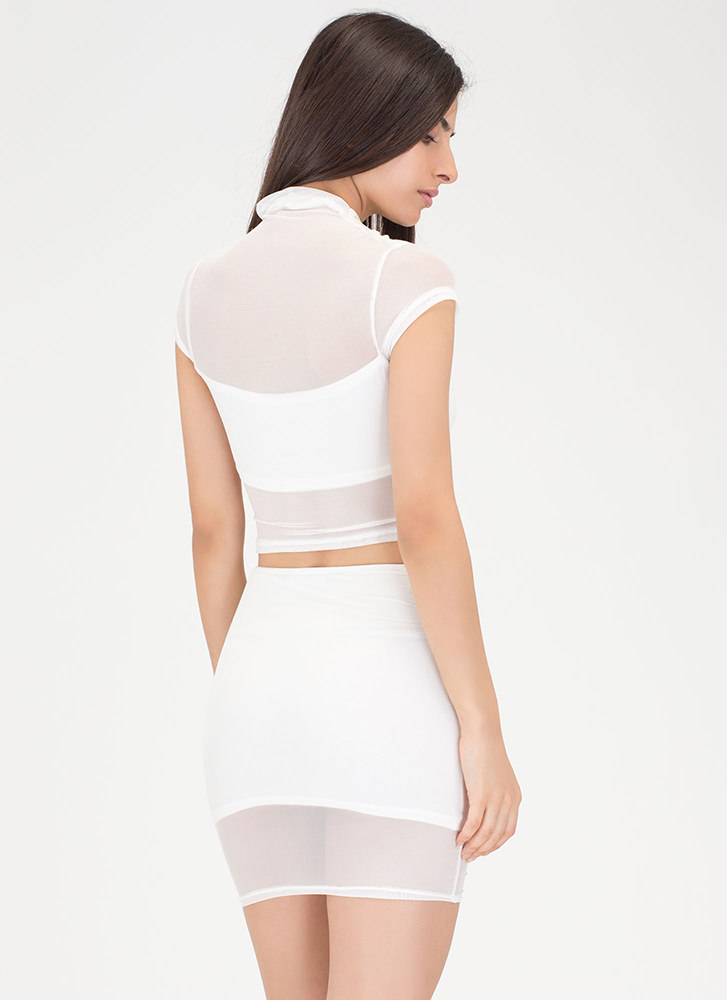 Ruched Into It Mesh Two-Piece Dress IVORY