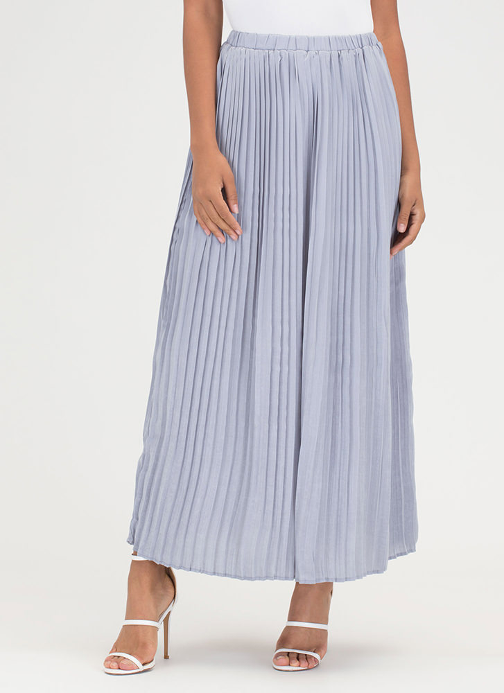 Sweet Pleats Satin Maxi Skirt DUSTYBLUE
