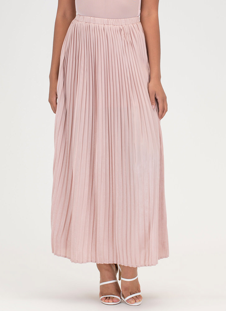 Sweet Pleats Satin Maxi Skirt MAUVE
