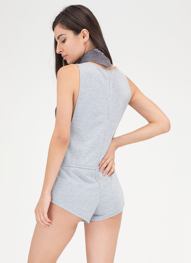 No Sweat Plunging Drawstring Romper HGREY
