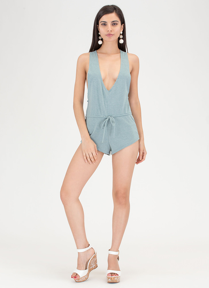 No Sweat Plunging Drawstring Romper JADE